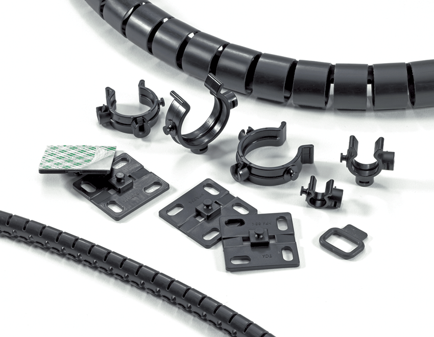 helawrap, HWClips, HWBase, Mounting plates, with screws, cable ties or adhesive