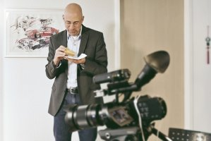 Video star and project manager James Orsini takes a break between scenes