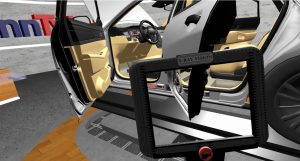 Virtual view inside a car: installed fastening elements for cables and cable ducts